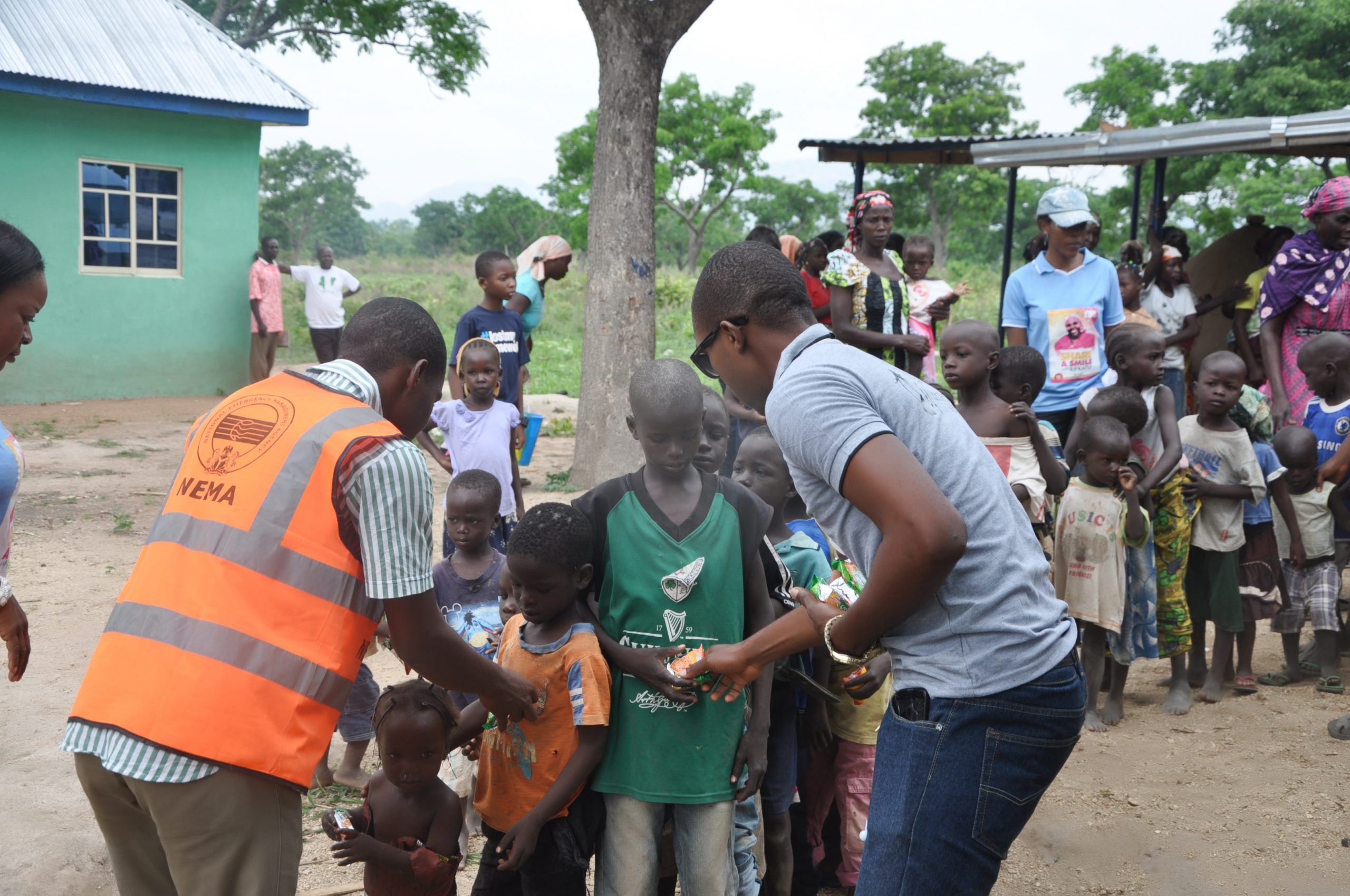 Distribution of relief materials to children in the camp